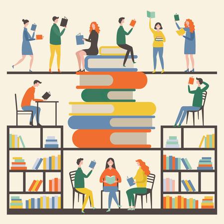 Koncepcja obraz z maskotkami płci męskiej i żeńskiej, które czytają książki w bibliotece