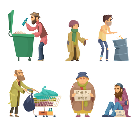 Poor and homeless adults people. Vector characters set Illustration