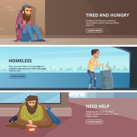 Vector horizontale Banner mit Illustrationen von armen und Obdachlosen Völker