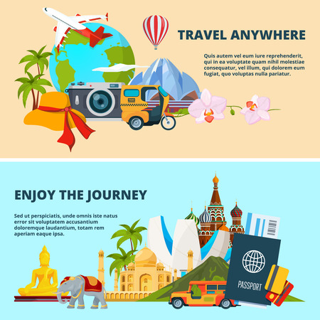 Illustrations of travel theme with pictures of different world landmarks Vettoriali
