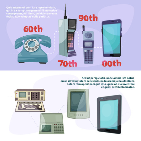 Visualization of technological progress. Banners set with different retro gadgets