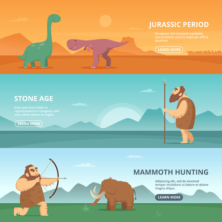 Horizontal banners set with illustrations of primitive prehistoric period peoples and different dinosaurs