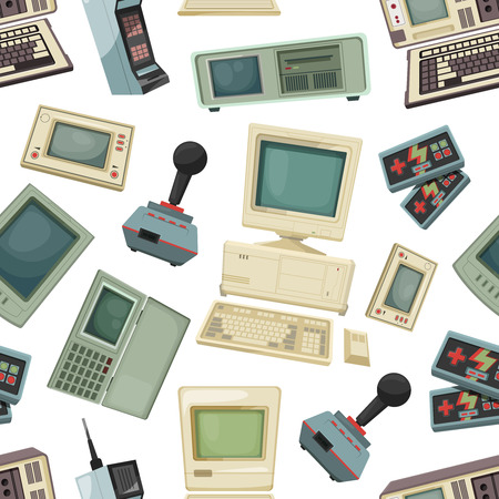 Seamless pattern with different vintage computers and gadgets