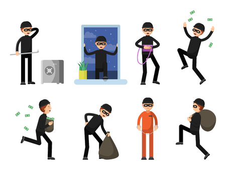 Set of criminal characters isolate on white. Vector criminal character, man crime burglar, thief and robber illustration Illustration