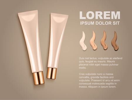 Illustration for advertising cosmetic cream on brown background.