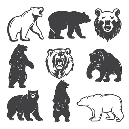 Monochrome illustrations of stylized bears. Pictures set for logos or badges design Vector illustration. Vettoriali