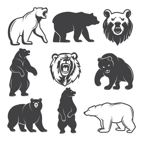 Ilustraciones monocromas de osos estilizados. Imágenes para logotipos o insignias de diseño Ilustración vectorial.