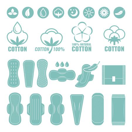Illustrations of feminine ultra light pads from cotton