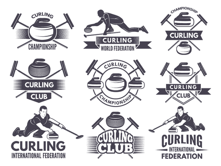 Monochrome badges of curling. Labels for sport teams. Curling sport competition badge of set. Vector illustration