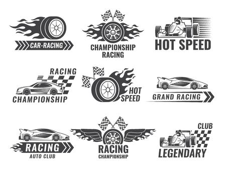 Trophy, engine, rally and others symbols for race sport labels. Vector illustration.