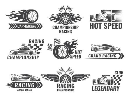 Trofeum, silnik, rajd i inne symbole na etykietach wyścigów. Ilustracji wektorowych.