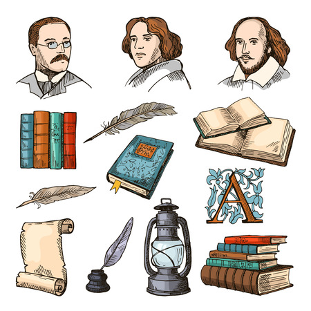 Colored symbols of literature and theater. Doodle pictures set Vector illustration.
