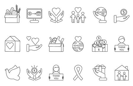 Symbols of volunteers and charities organisations. Monolines icons set.