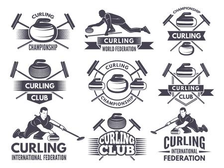 Monochrome badges of curling. Labels for sport teams. Curling sport competition badge of set. Vector illustration