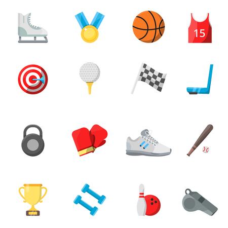 Flat sport symbols in vector style. Illustration of sport symbol, basketball and bowling, baseball and skating