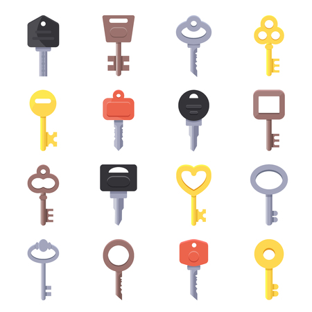 Vector pictures of keys for doors. Illustration of key set for car or home