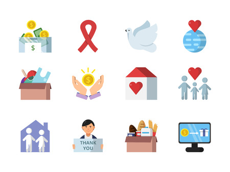 Donation, gifts and other different symbols of charities Imagens - 99086069