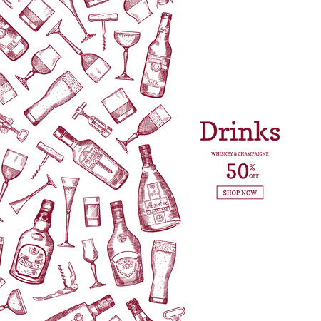 Vector hand drawn alcohol drink bottles and glasses background illustration with place for text Ilustração