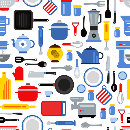 Vector colored seamless pattern or background illustration with flat style kitchen utensils