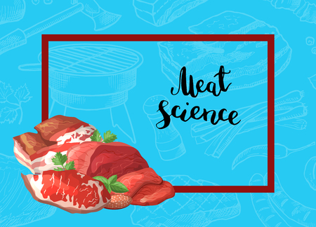 Vector cartoon meat elements rectangle frame with pile of in the corner with place for text background illustration 写真素材 - 99212051