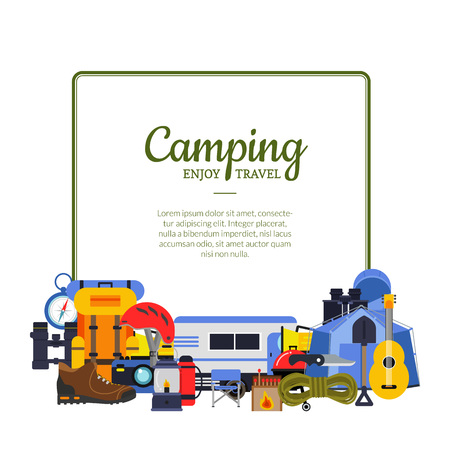 Vector frame with flat style camping elements illustration