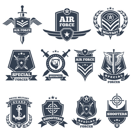 Military logos and badges. Army symbols isolated on white background. Military badge, special force aviation chevron illustration Stock Illustratie