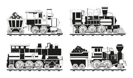 Monochrome pictures of vintage trains. Train transportation railway, monochrome transport on railroad. Vector illustration Vector Illustration