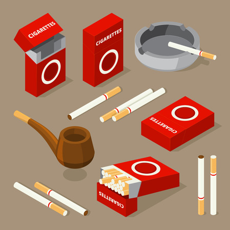 Vector isometric illustrations of cigarettes and various accessories for smokers. Smoke cigarette and tobacco isometric 3d Vettoriali