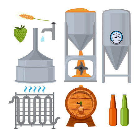 Equipment for the brewery. Pictures in cartoon style. Beer drink alcohol, brewery lager beverage, vector illustration
