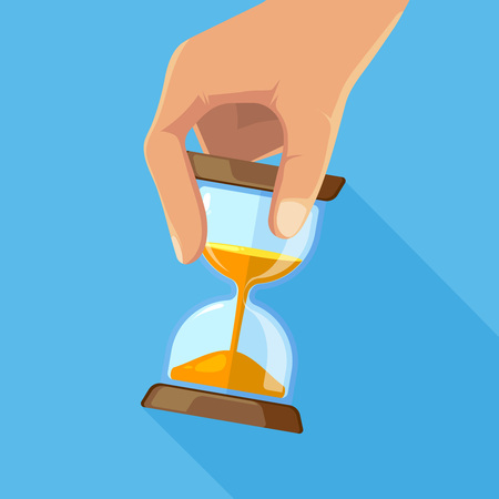 Business concept picture of hourglasses in hand. Time hourglass, clock timer sandglass. Vector illustration