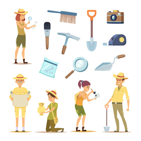 Arqueólogos personajes y diversos artefactos históricos. Hombre arqueólogo de carácter, descubrimiento en ilustración de arqueología