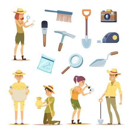 Personnages archéologues et divers artefacts historiques. Homme archéologue de caractère, découverte en illustration de l'archéologie