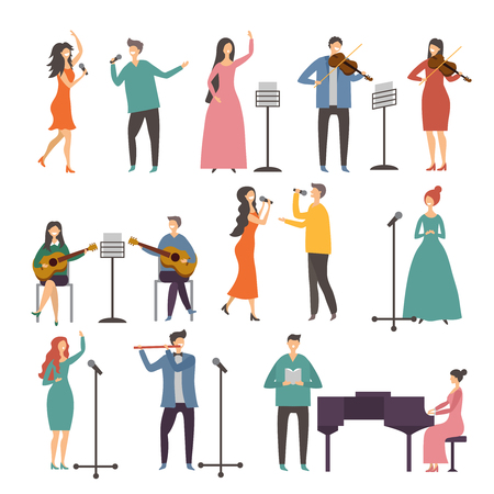 Concert and music groups. Vocal duets. Musician and singers performances Иллюстрация