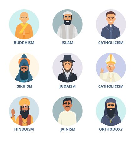 Round avatars set with pictures of religion leaders. Religion sikhism and judaism, buddhism and orthodoxy. Vector illustration Vettoriali