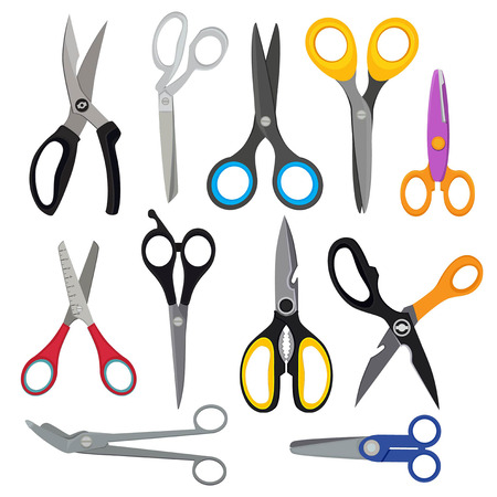 Illustrations of colored scissors. Vector pictures set in flat style. Scissor for hairdressing, sharp tools, shears accessories Çizim