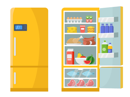 Vector illustrations of empty and closed refrigerator with different healthy food Çizim