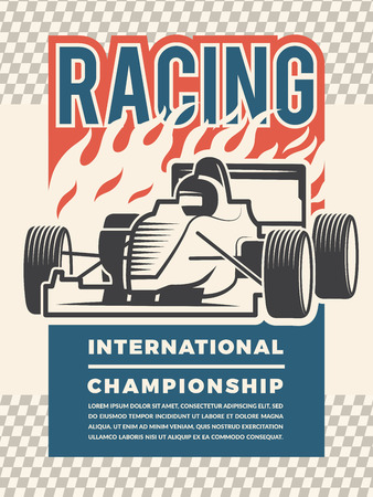 Poster or placard for motosport. Vintage illustrations of racing cars. Sport race speed, auto international championship vector Stock fotó - 99538879