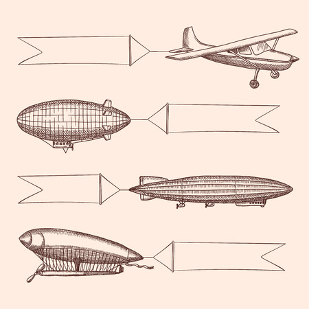 Vector set of steampunk hand drawn vintage dirigibles and air baloons with hanging wide ribbons for text. Airplane transport with banner, aircraft dirigible or zeppelin illustration Illustration