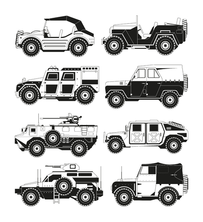 Monochrome pictures of military vehicles. Illustrations of army