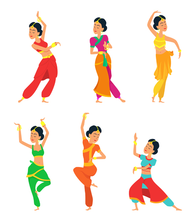 Indian dancers isolate on white background. Characters set