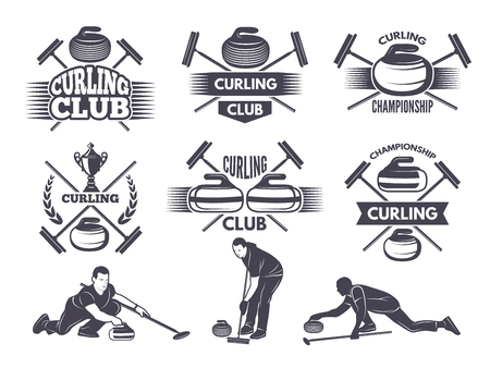 Labels for curling sport team