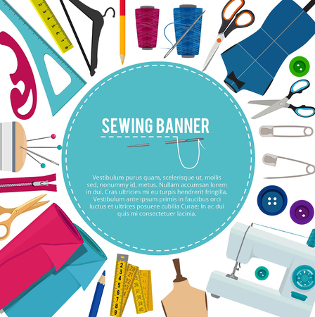 Background picture with different sewing elements and place for your text. Sewing poster with needle and scissors illustration