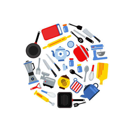 Vector flat style kitchen utensils gathered in circle illustration