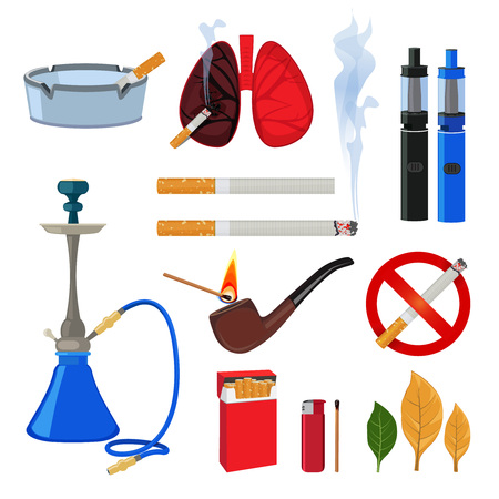 Tobacco, cigarette and different accessories for smokers. Smoke habit, lighter and accessories, viper and cigarette. Vector illustration Illustration