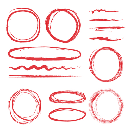 Lines and circles to highlight. Vector illustrations set Illustration