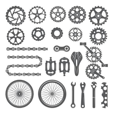 Engrenages, chaînes, roues et autres pièces différentes de vélo. Pédale de vélo et éléments pour faire du vélo, illustration vectorielle Vecteurs