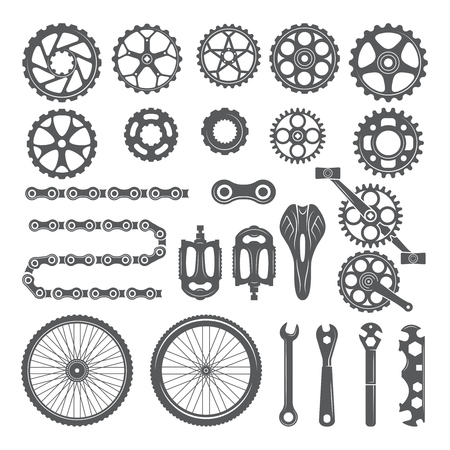 Gears, chains, wheels and other different parts of bicycle. Bike pedal and elements for cycle biking, vector illustration Stock Illustratie