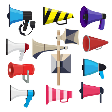 Different loud speakers. Symbols for announce loudspeaker for speech, megaphone and bullhorn. Vector illustration