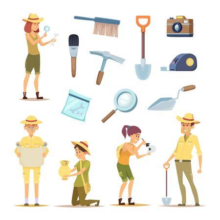 Personaggi archeologi e vari manufatti storici. Uomo dell'archeologo di carattere, scoperta nell'illustrazione di archeologia Logo