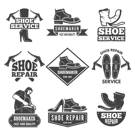 Vintage monochrome labels and logos for shoe repair shops